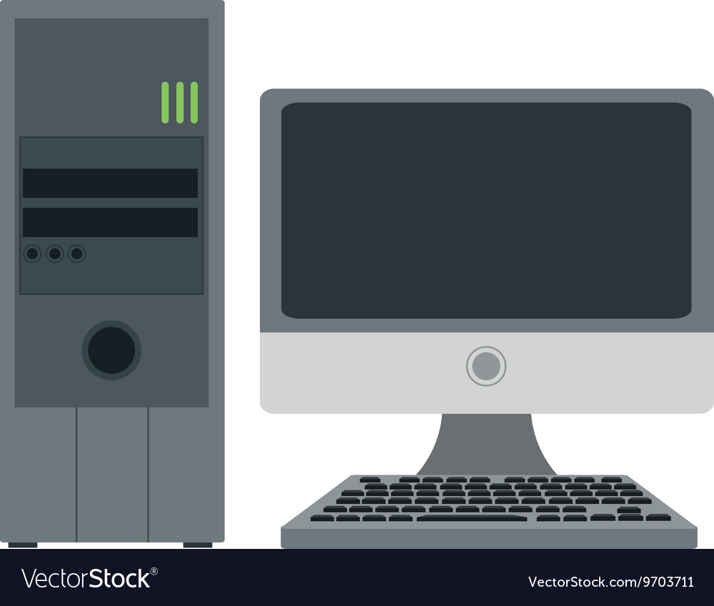 computer monitor and cpu unit royalty free vector image vectorstock