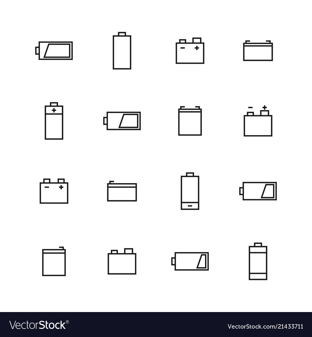 Elements of power and battery icons of thin lines