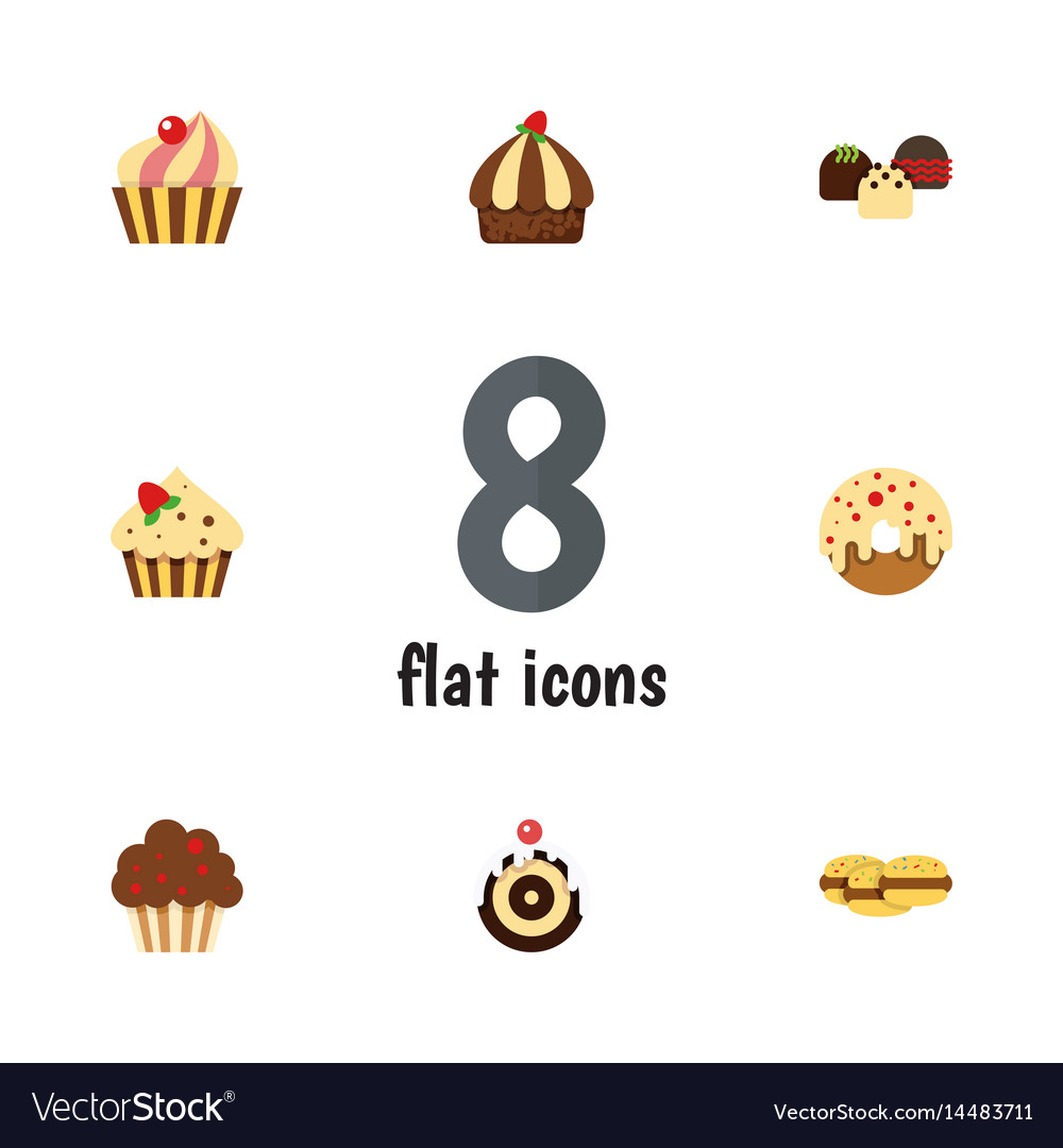 Flat cake set of cake muffin cupcake and other vector image