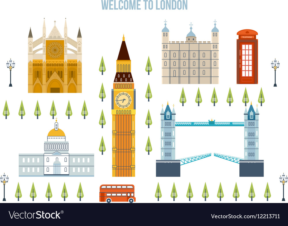 Flat design of London city Modern building