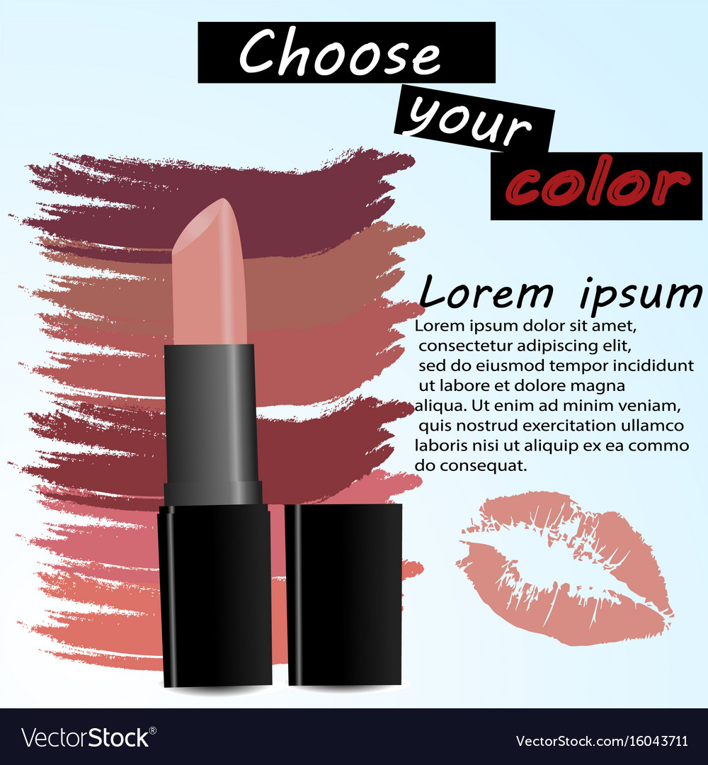 makeup ads template charming red lipstick vector image