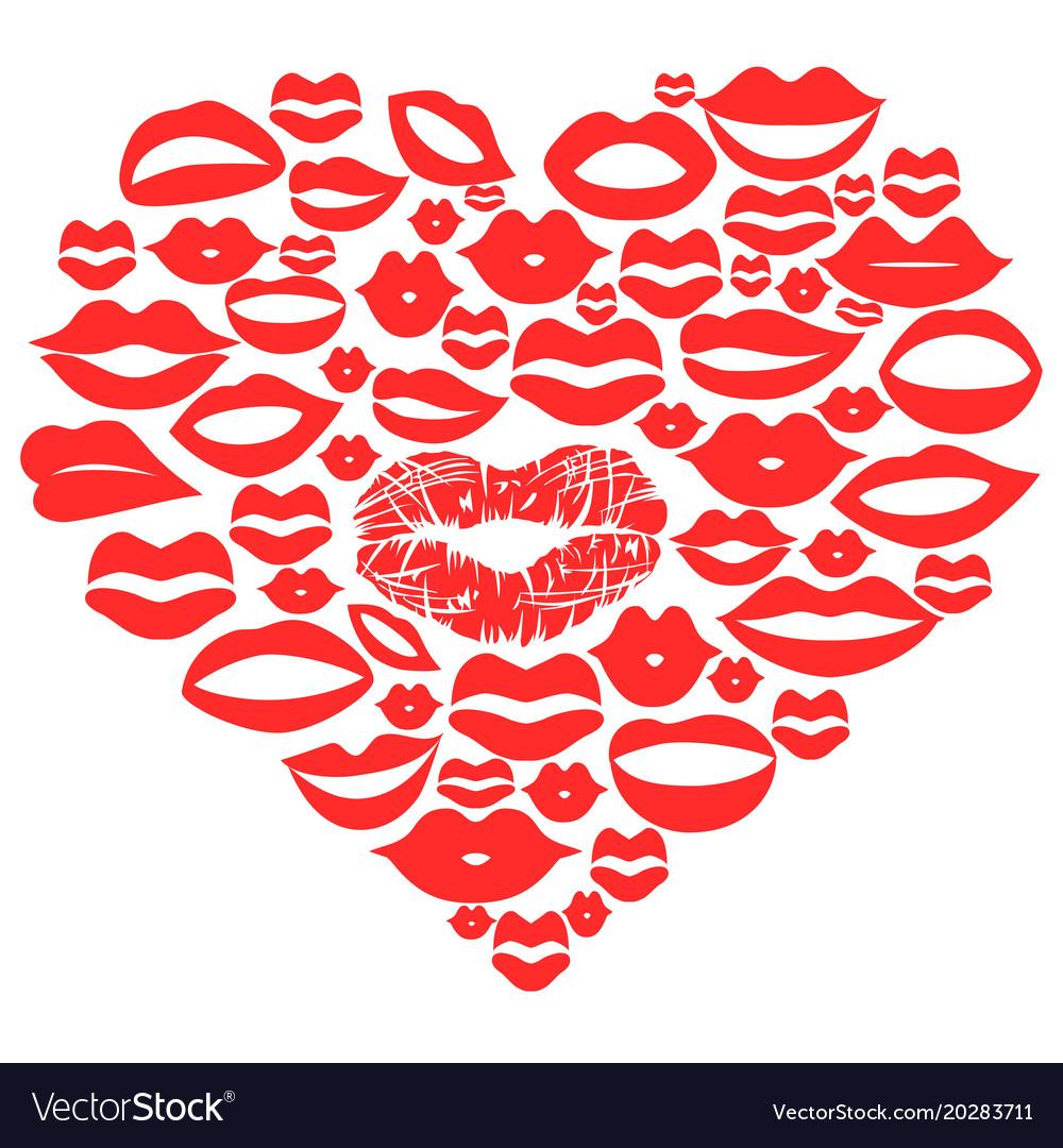 Red lips set in heart
