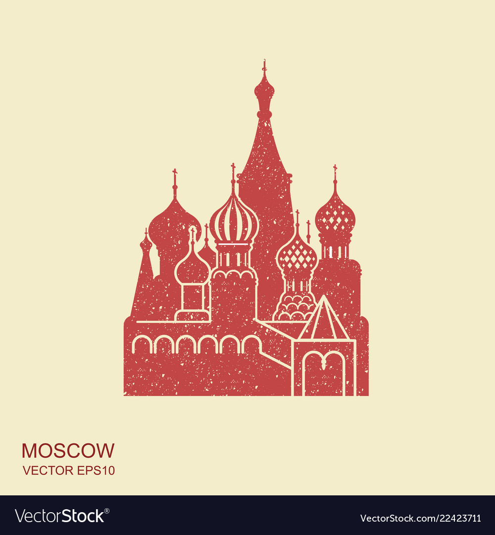 Saint basil cathedral moscow flat icon