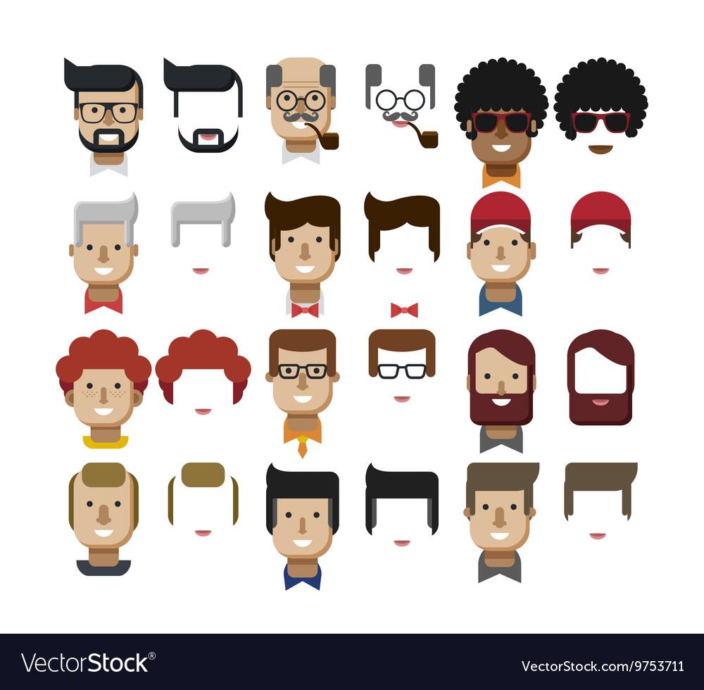 Set avatars male faces design