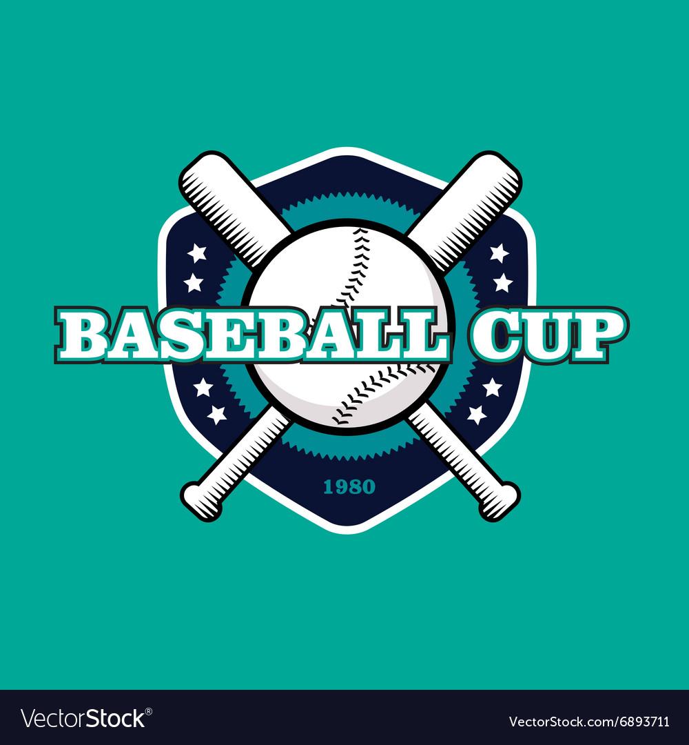 Vintage color baseball championship logo or badge