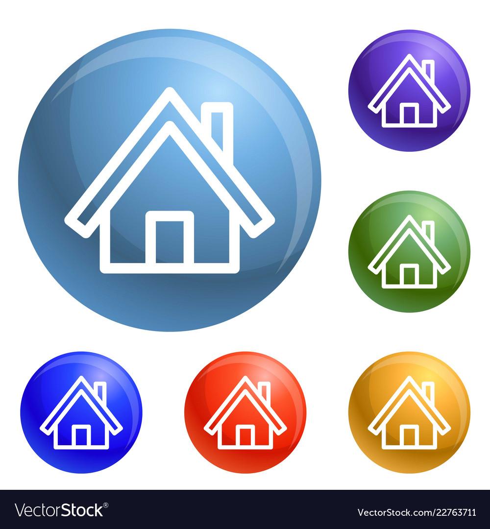 Wood house icons set