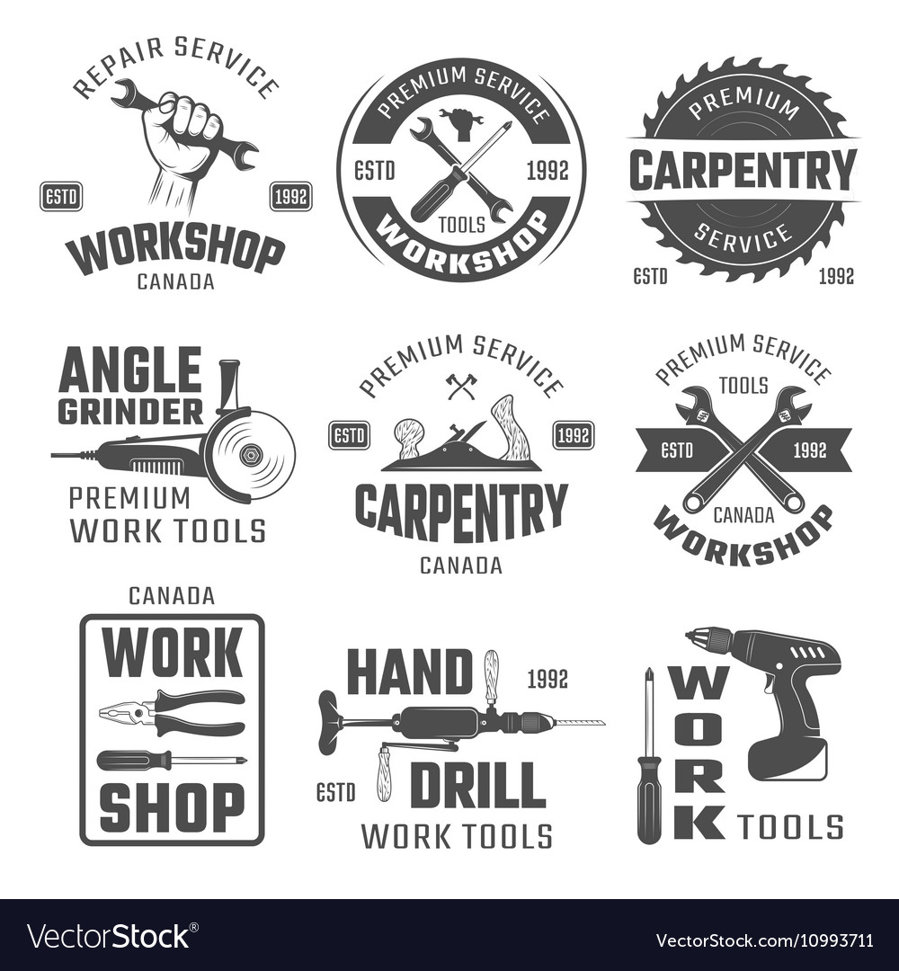 Work Tools Black White Emblems
