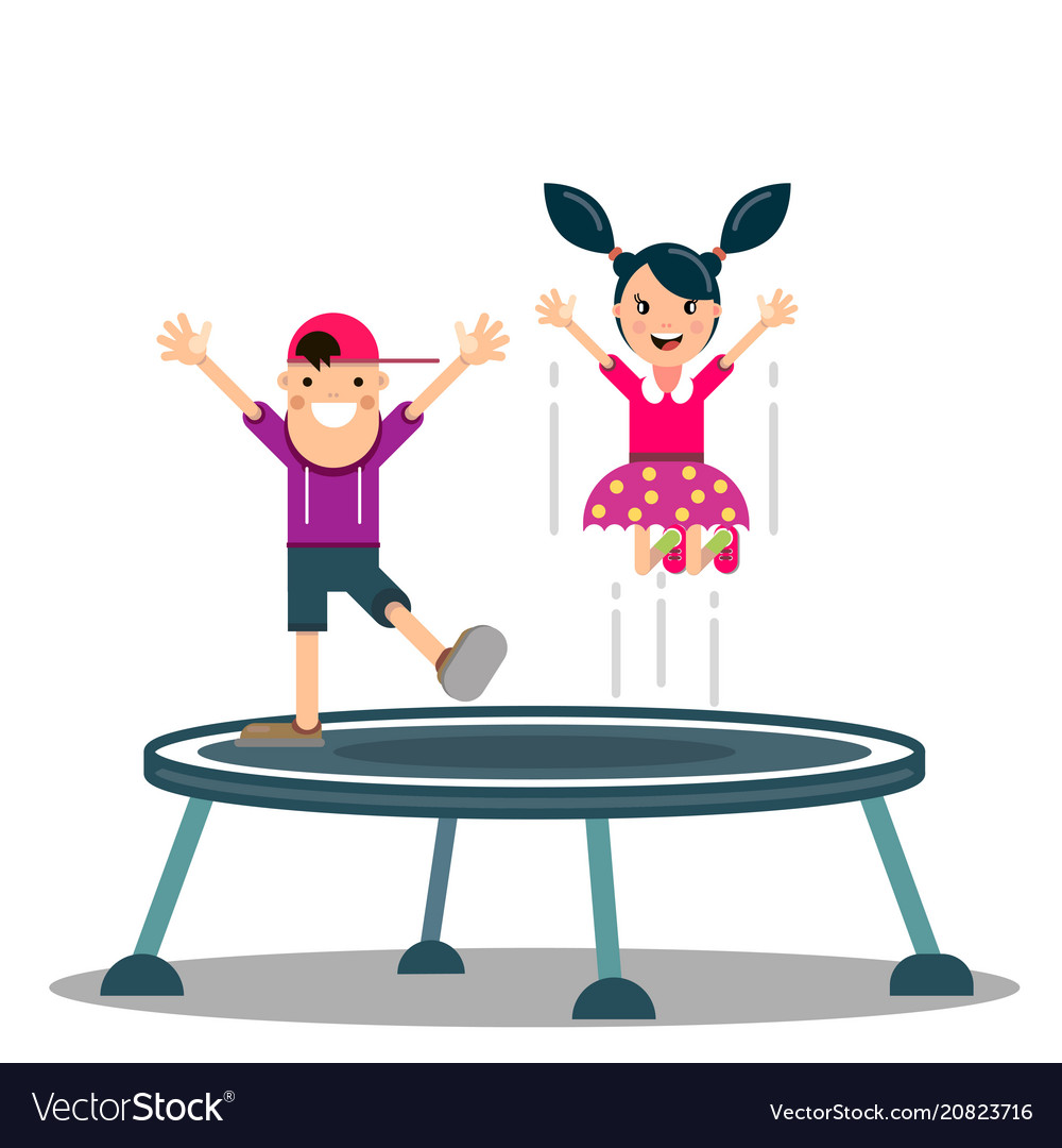 Cartoon little kid playing trampoline