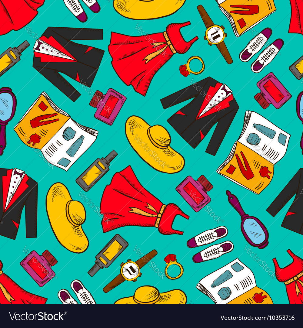 Fashion Clothes Seamless Pattern Background Vector Image