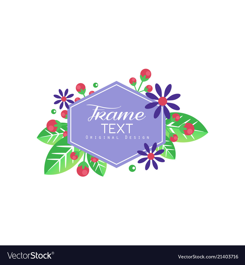 Floral logo with frame composed flowers