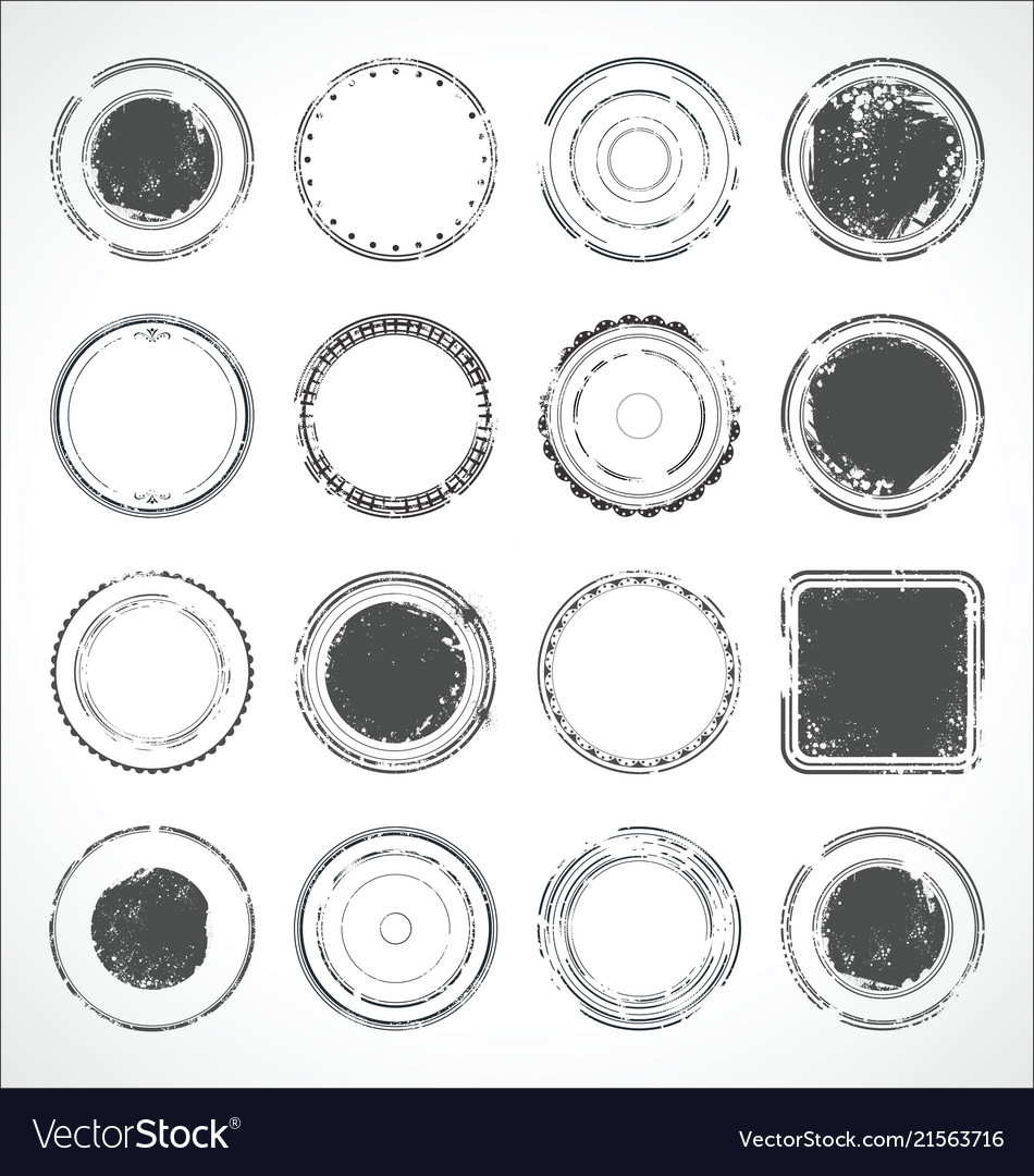 Grunge round paper stickers black and white 3