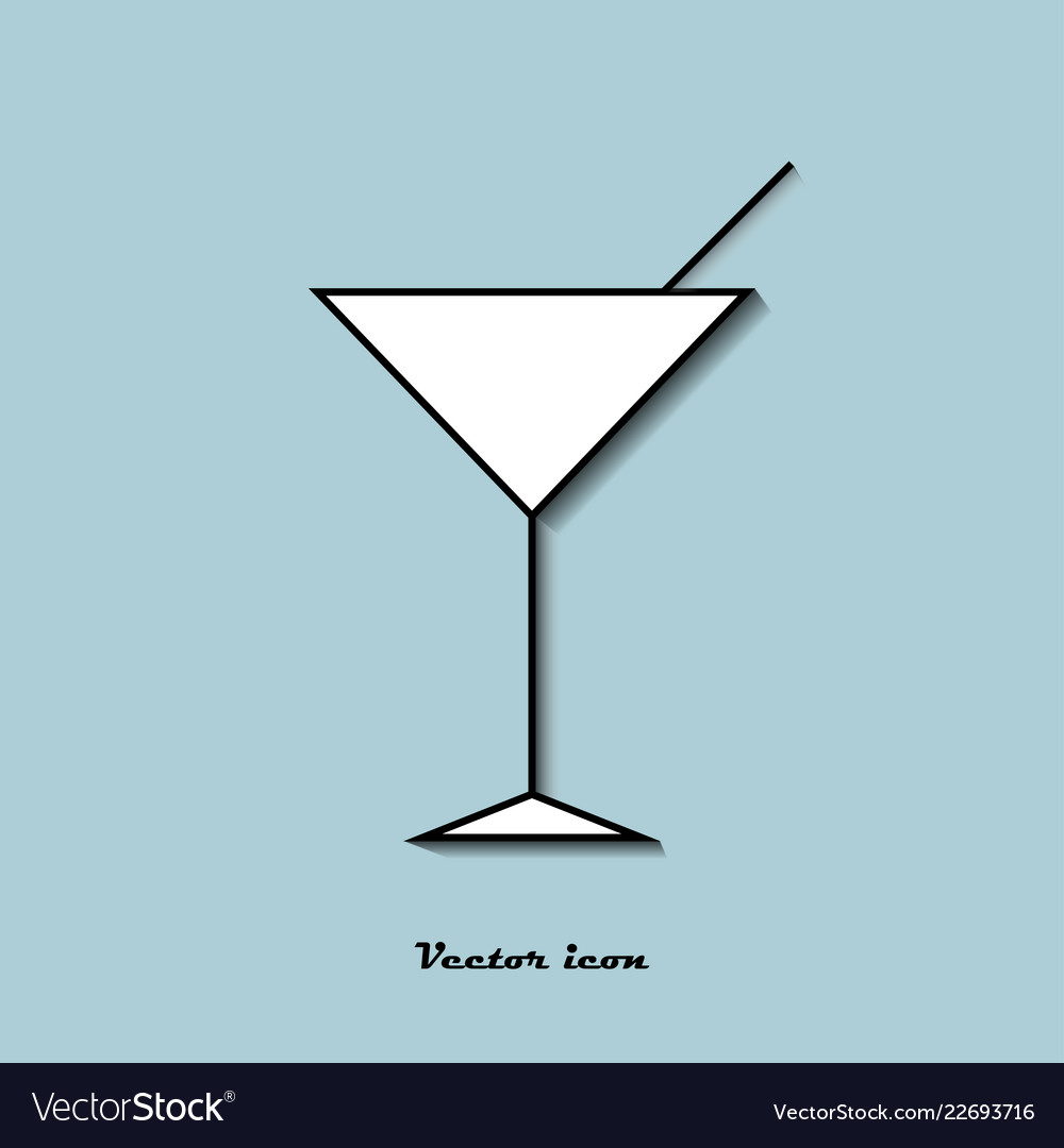 Icon glass of cocktail on a blue background