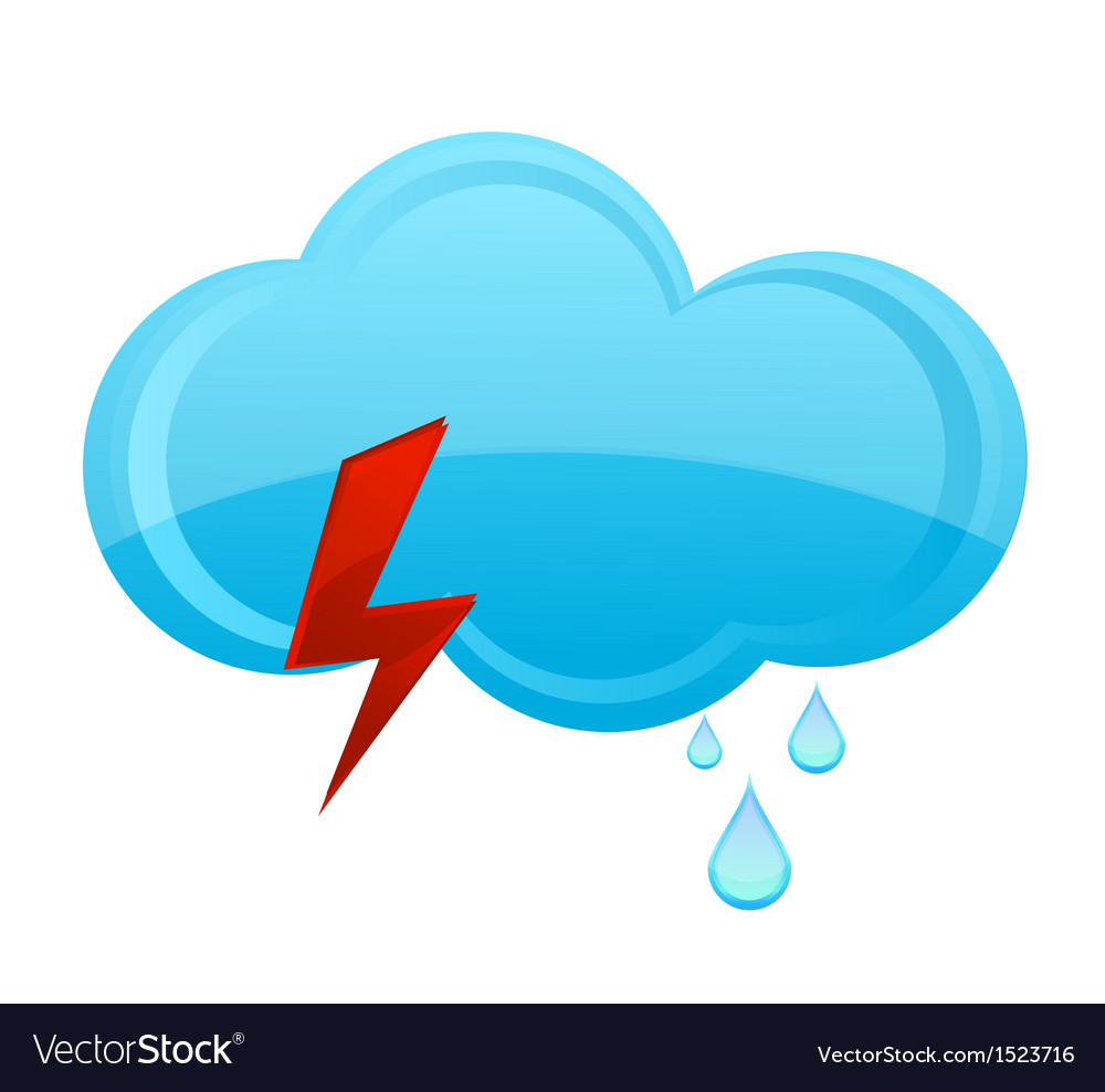 Nature Rain Cloud Symbol Blue Color Vector Image