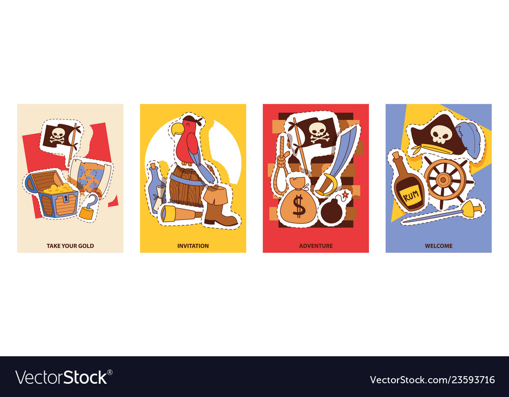 Pirates invitation cards cartoon patches