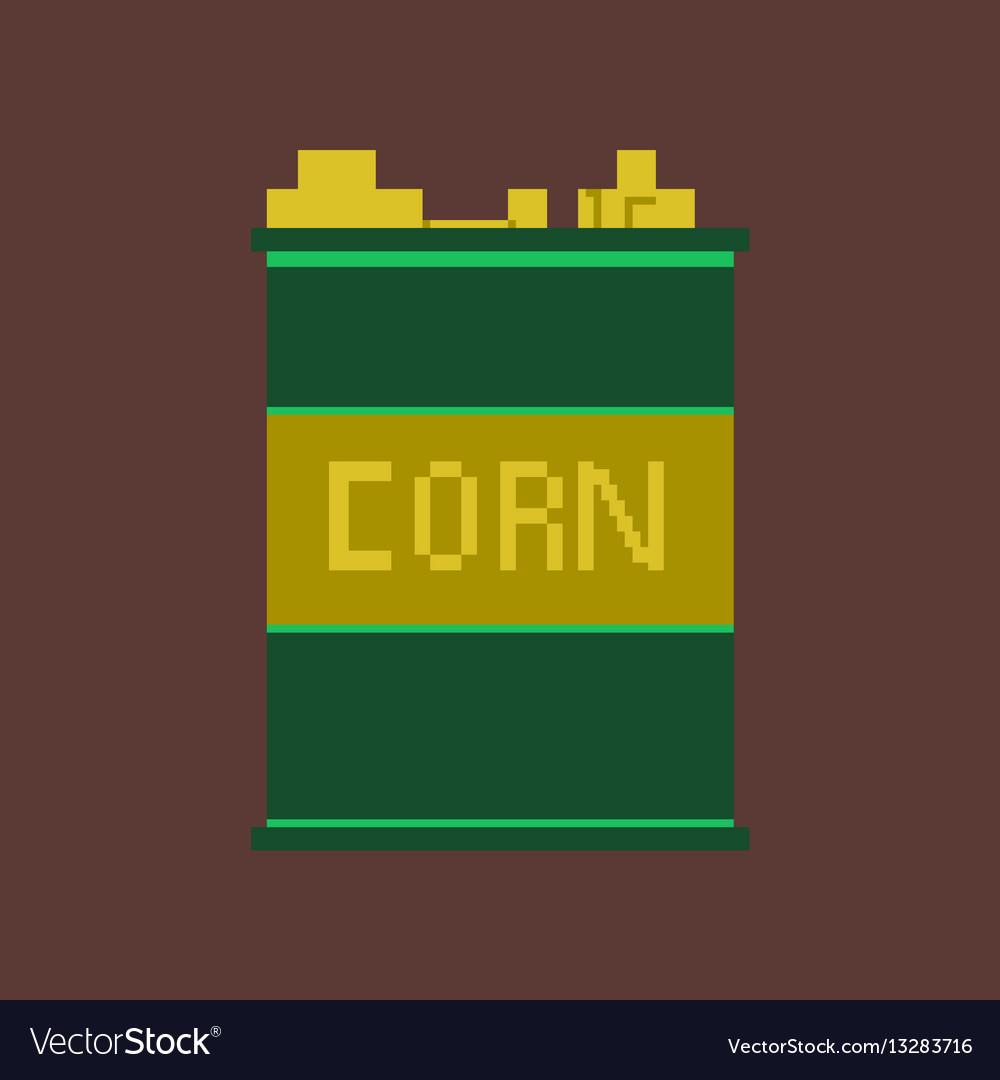 Pixel icon in flat style corn in glass