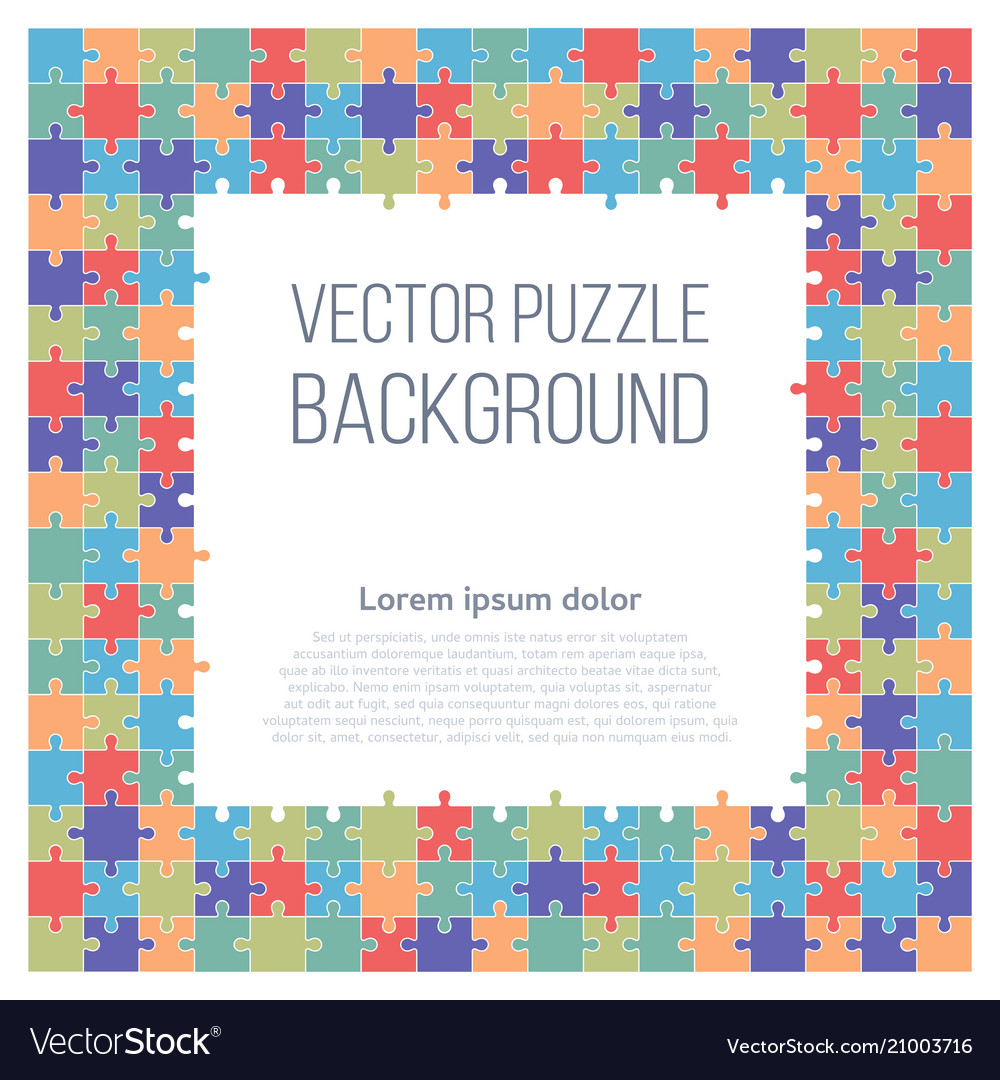 Puzzle frame background Royalty Free Vector Image