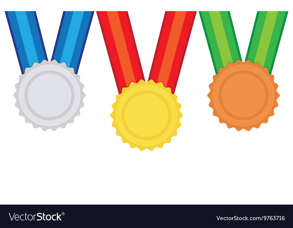 Three medals gold silver and bronze vector image