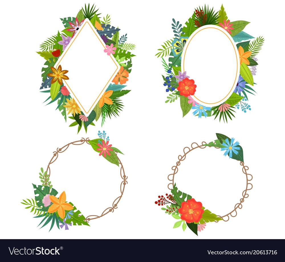 Tropical flowers frames