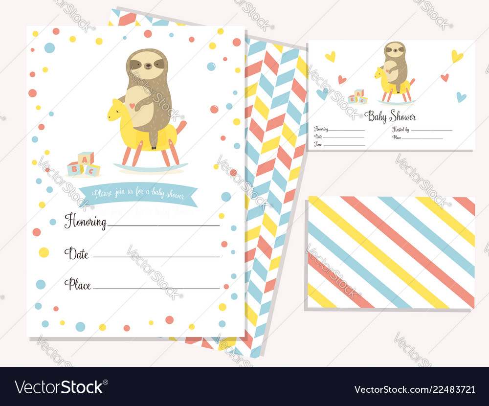 Baby shower invitation card with cute sloth