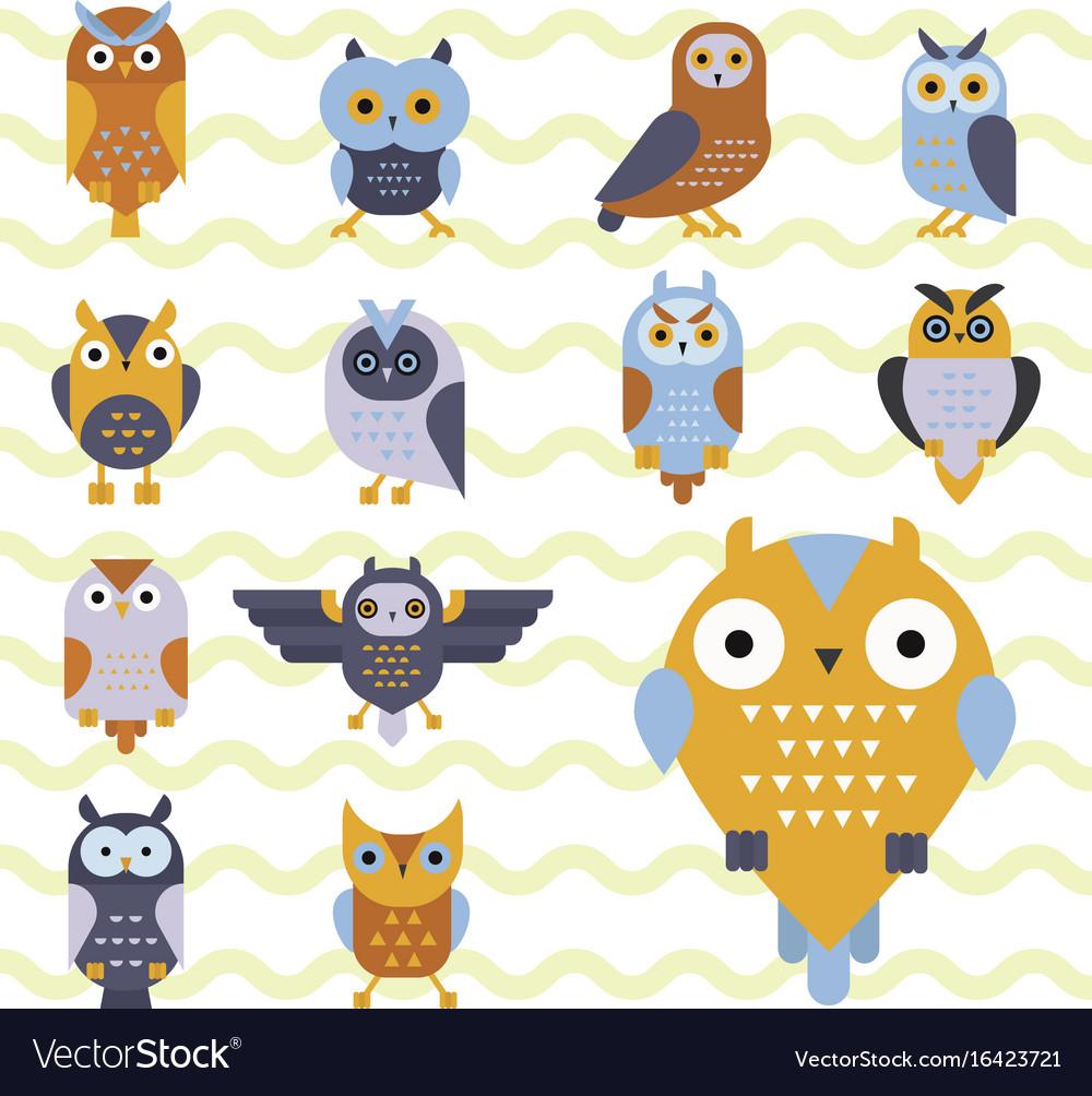 Cartoon owl bird cute character symbol sleep sweet