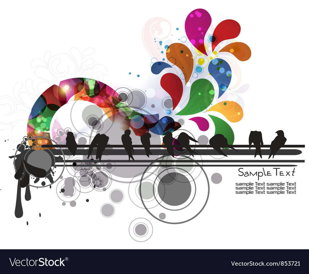 Colorful with birds vector image