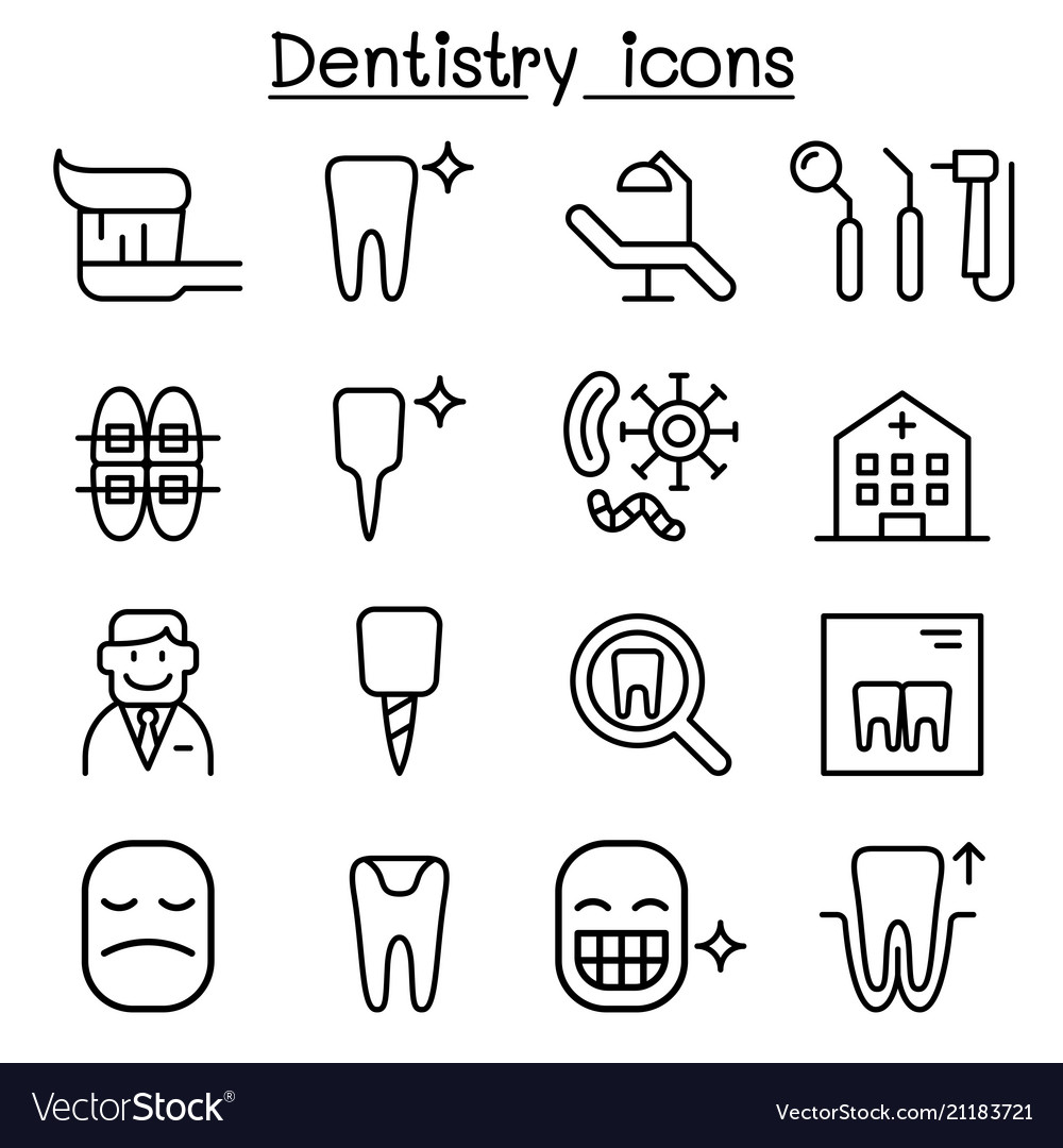 Dentistry icon set in thin line style