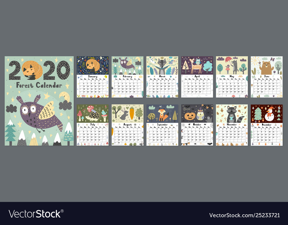 Forest calendar for 2020 year printable planner