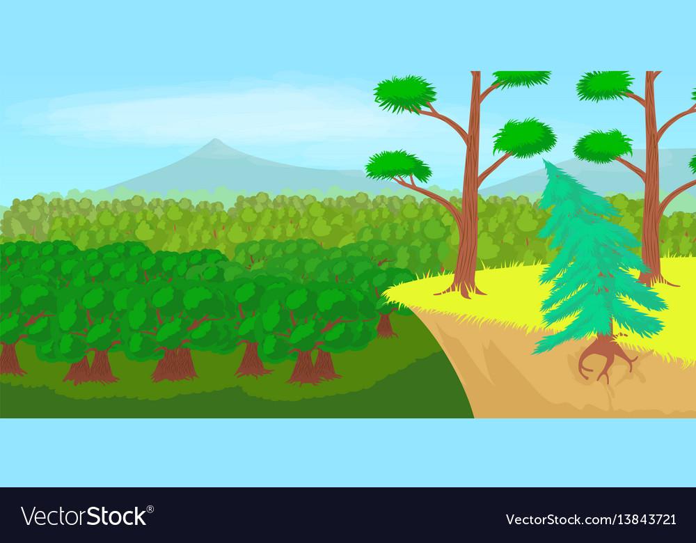 Forest landscape horizontal banner cartoon style