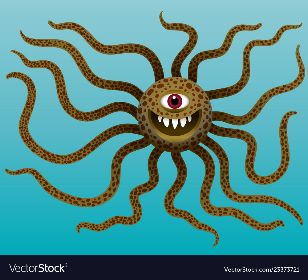 Funny monster with long tentacles in water