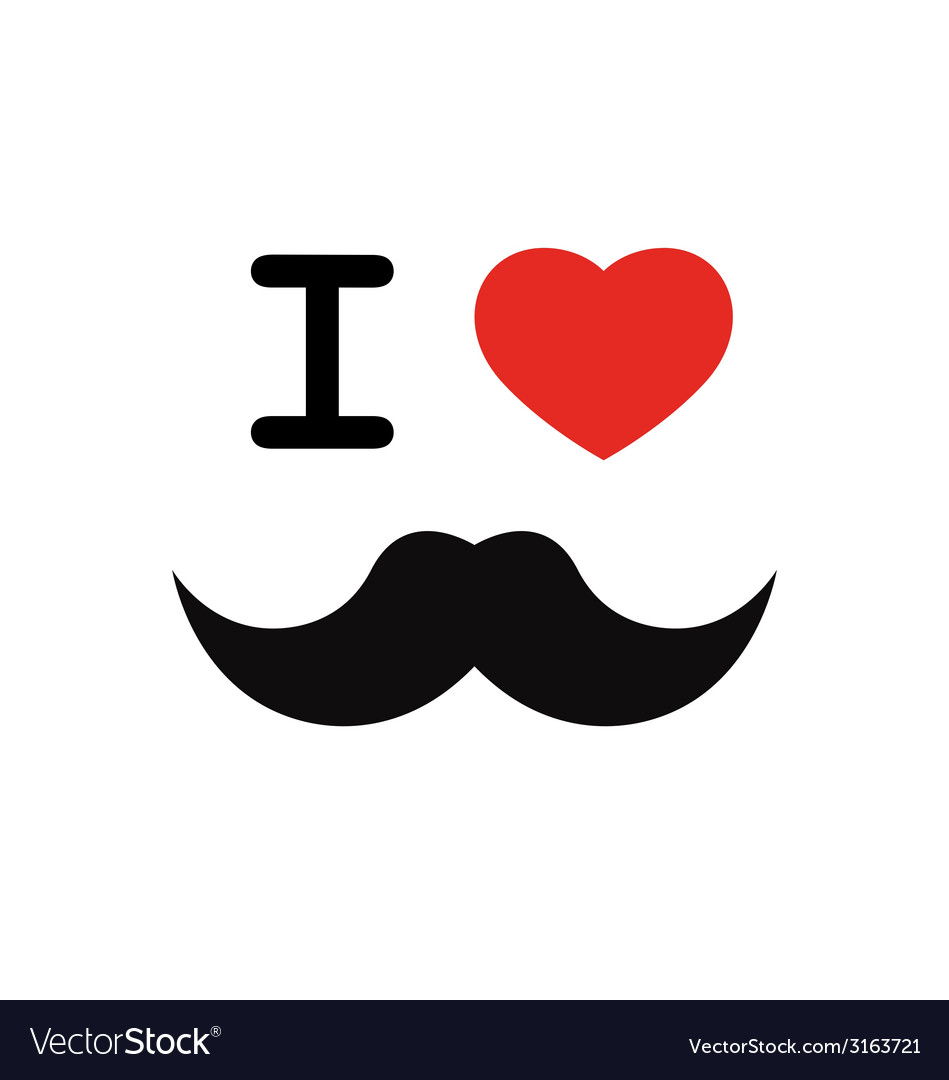 I love mustache with red heart shape