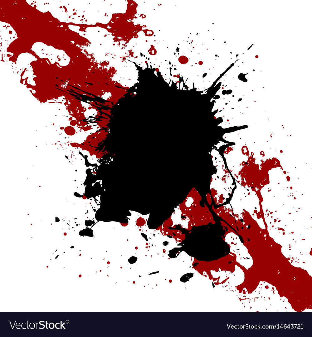 Ink black and red paint splatter background vector image
