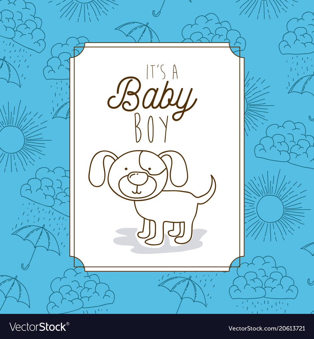 Its a baby boy frame with dog Royalty Free Vector Image
