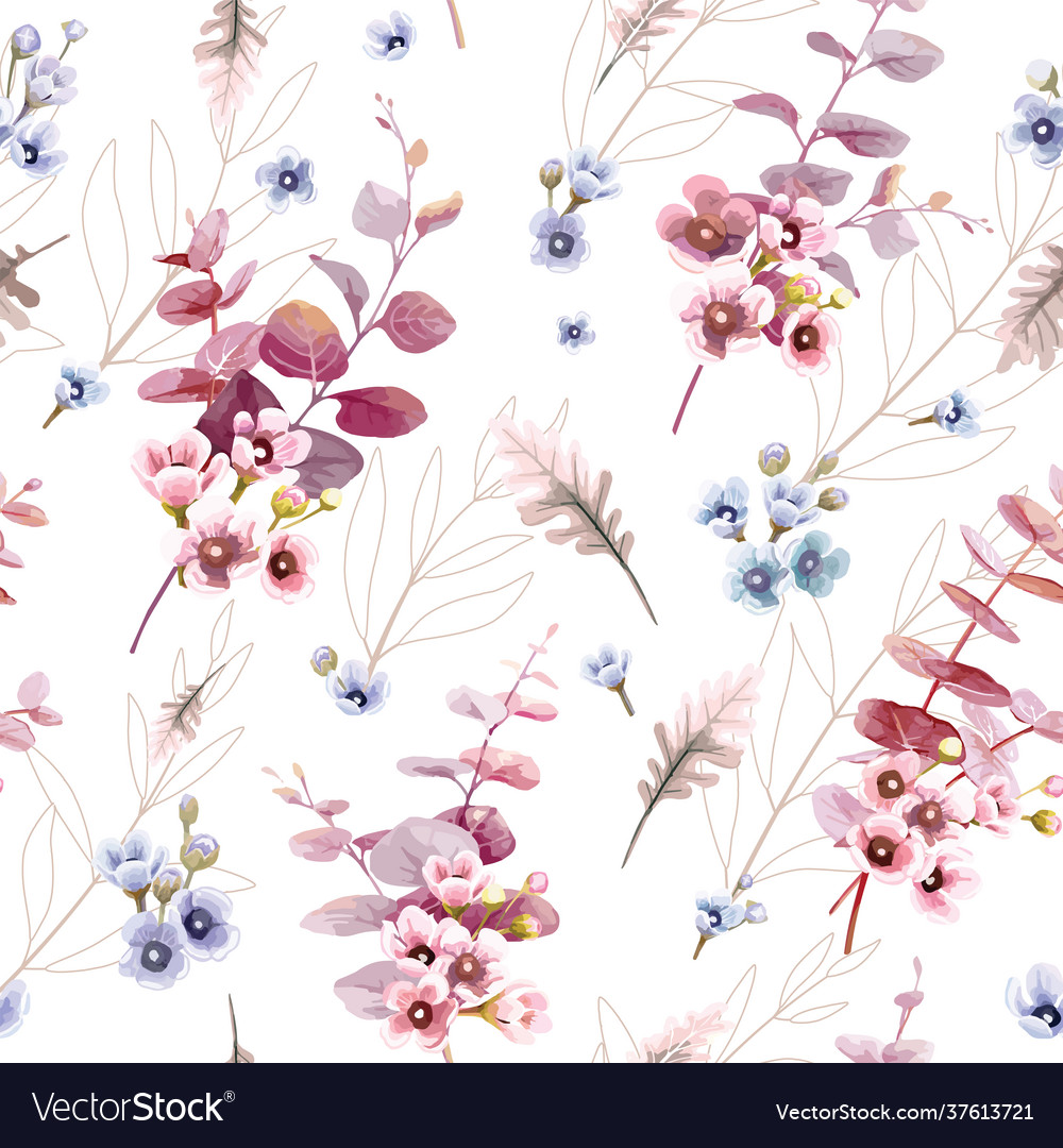 Leaves and wax flower seamless pattern wallpaper
