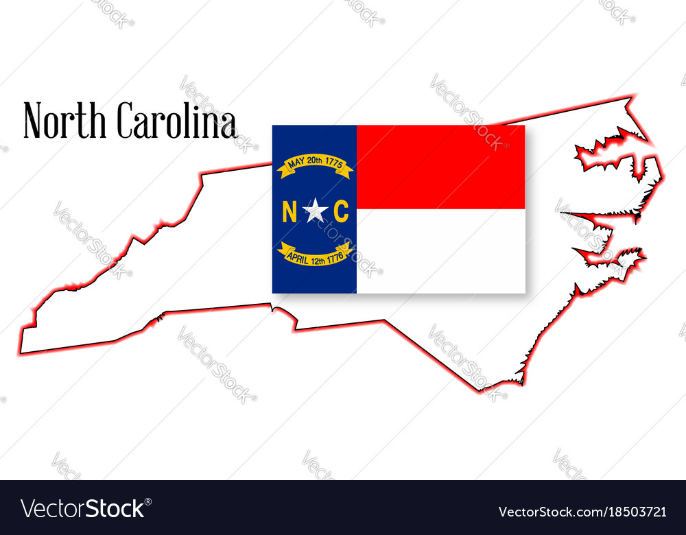 North carolina state map and flag Royalty Free Vector Image