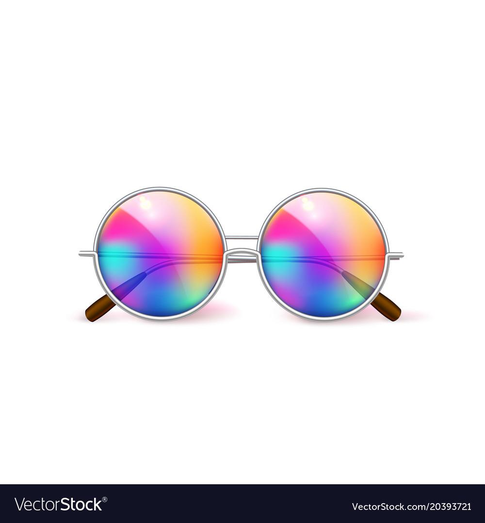 Realistic eyeglasses retro circle hipster