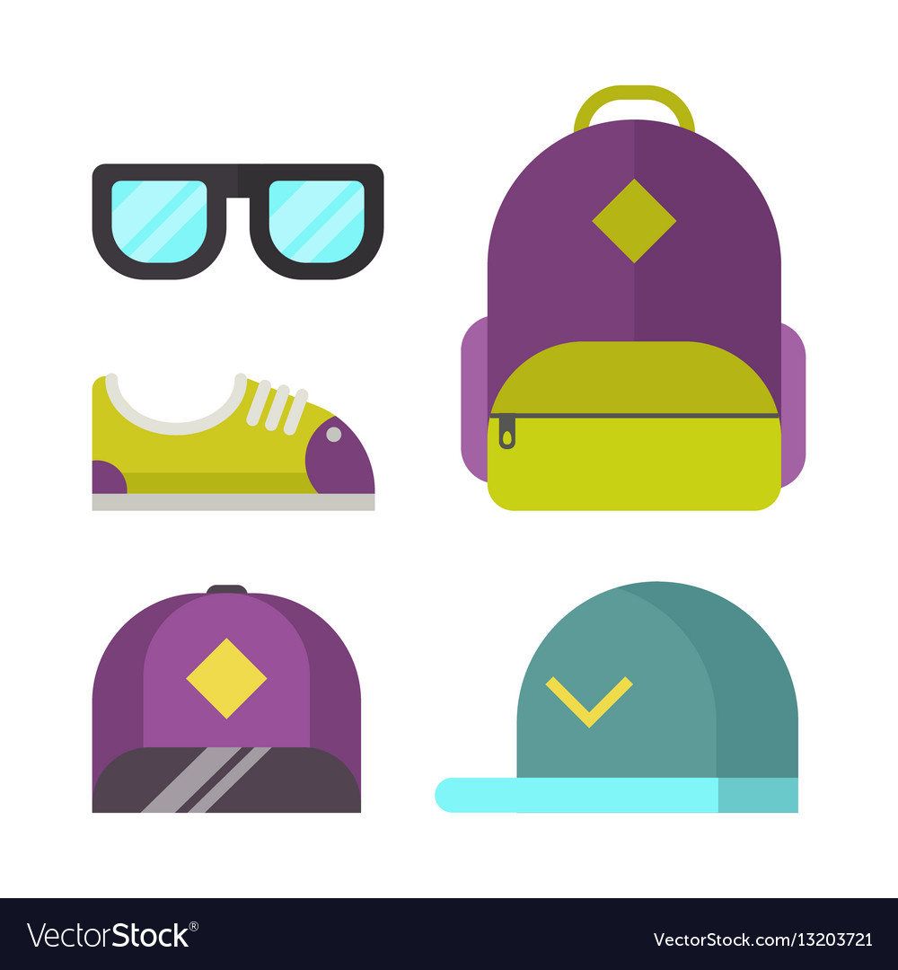 School bag and fashion accessory icons