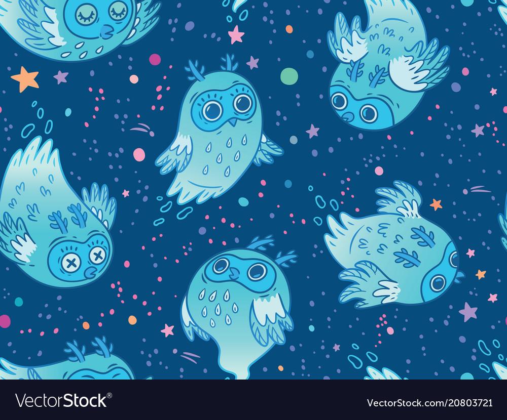 Seamless pattern of cute ghost owls in blue