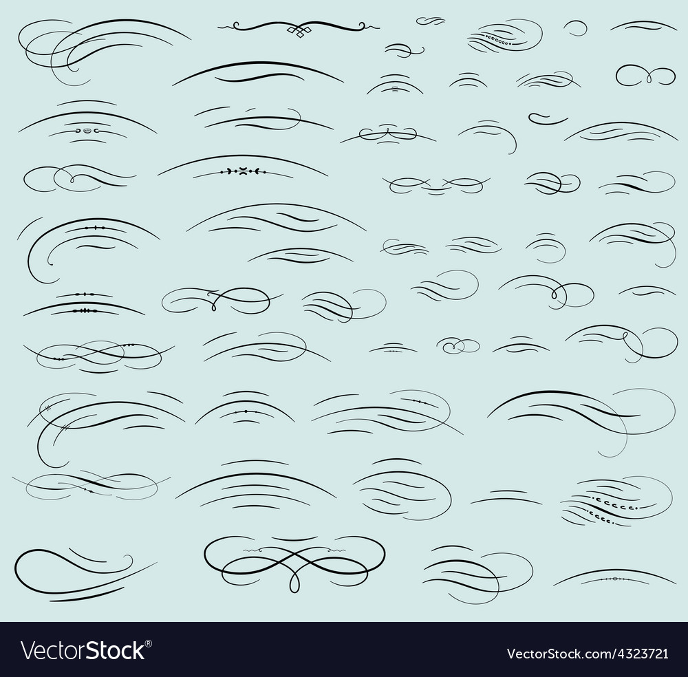 Set calligraphic swashes and flourishes vector