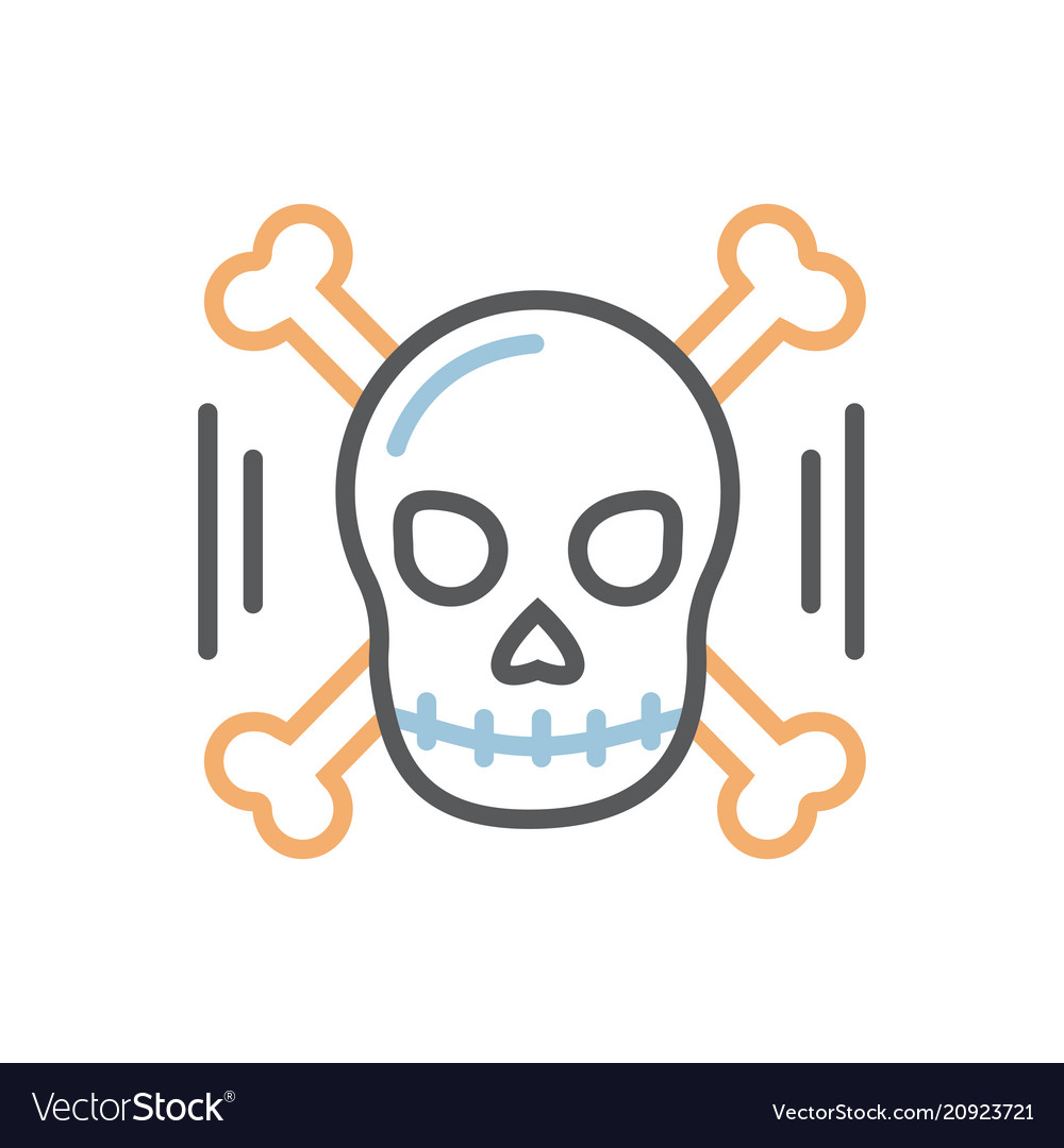 Skull with bones icon thin line isolated