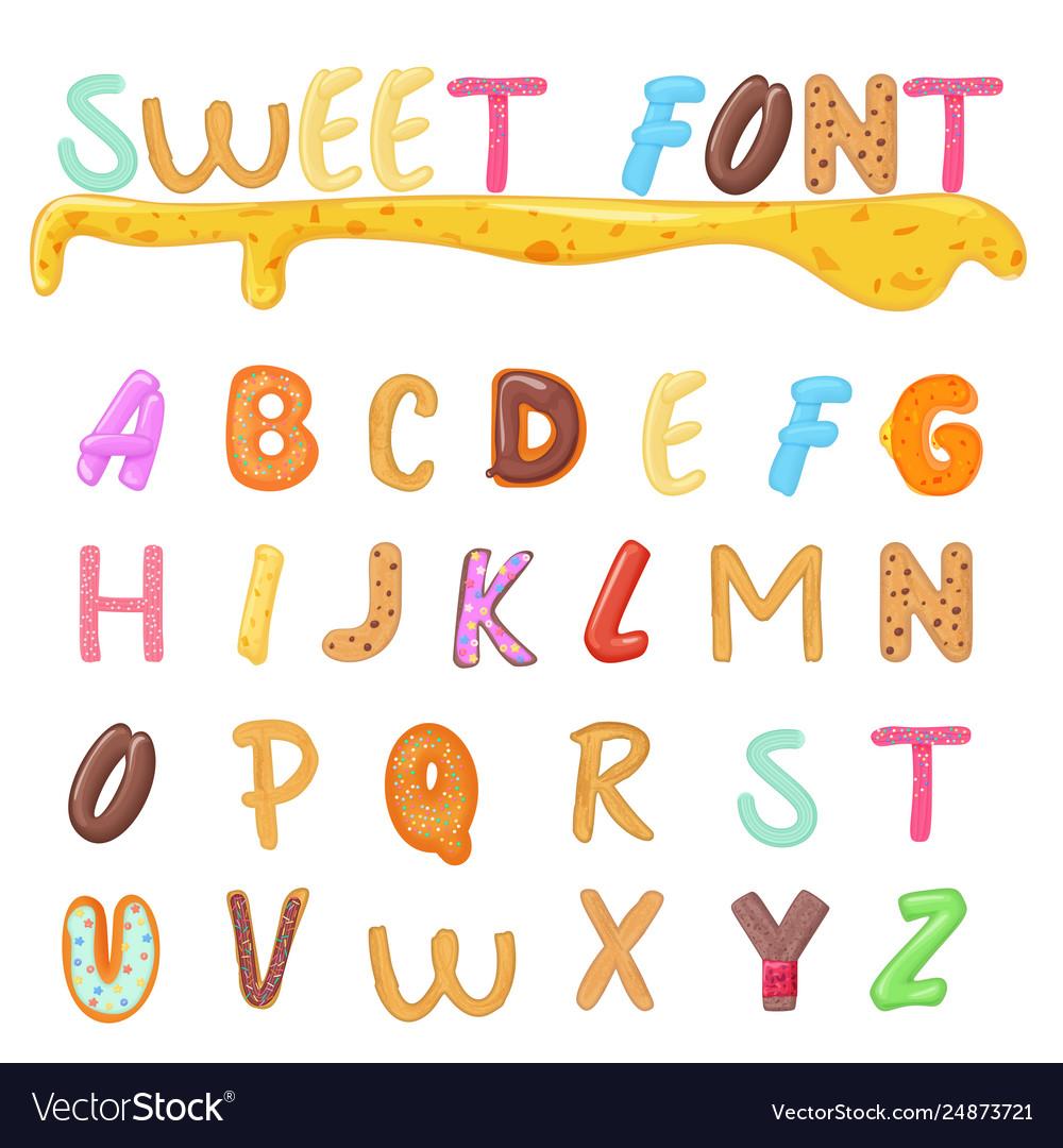 Sweets cookies and bakery font design kids style