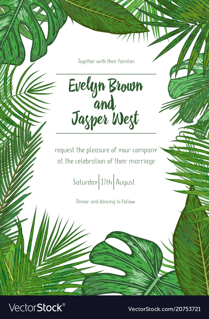 Wedding event invitation card template exotic