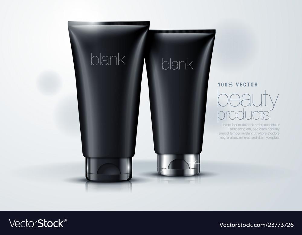 3d mock up of black blank tube