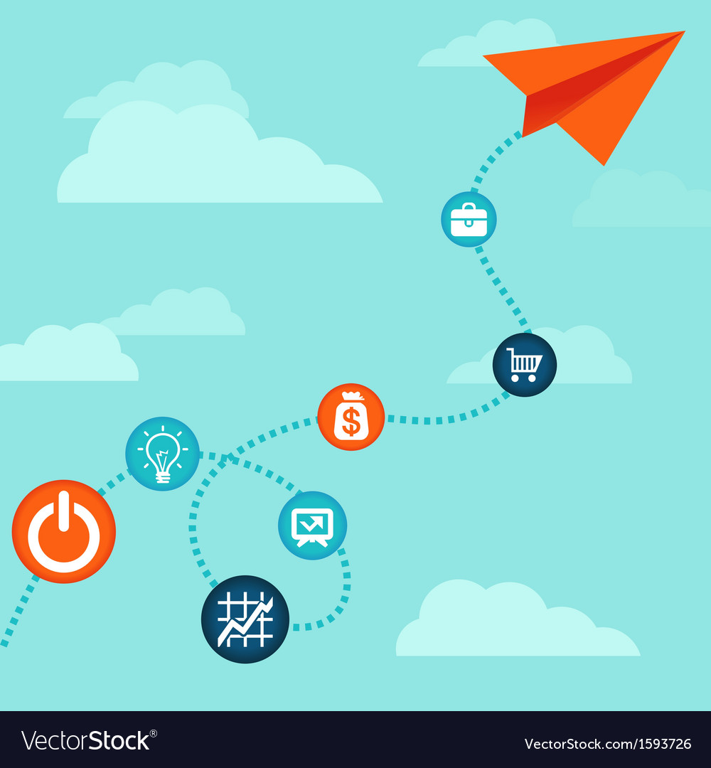 Business concept -flying paper plane vector image