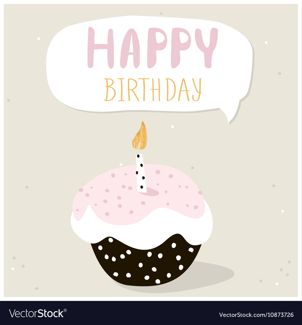 Cute Cupcake With Happy Birthday Wish Greeting Vector Image