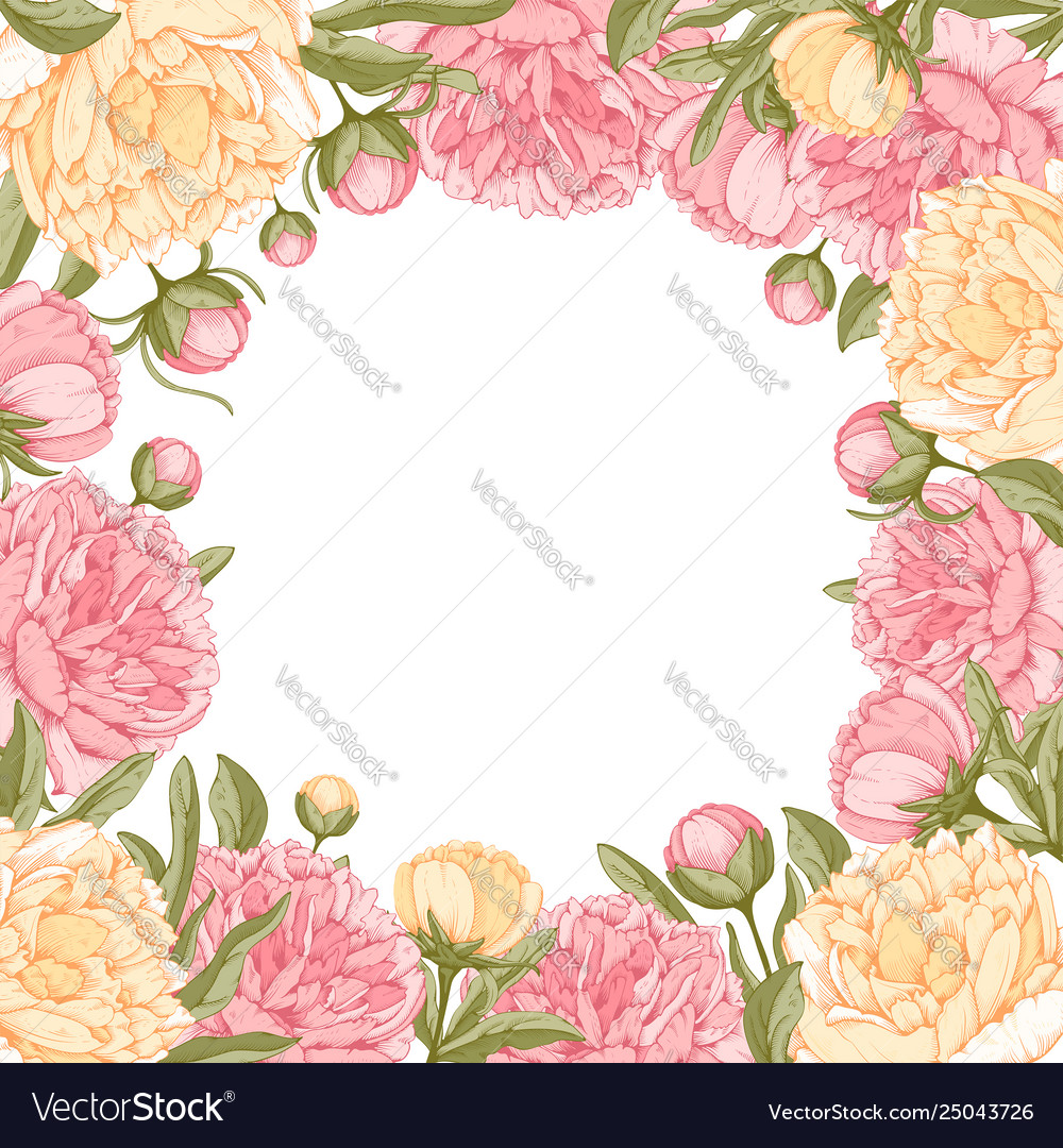 Floral frame with peony flowers
