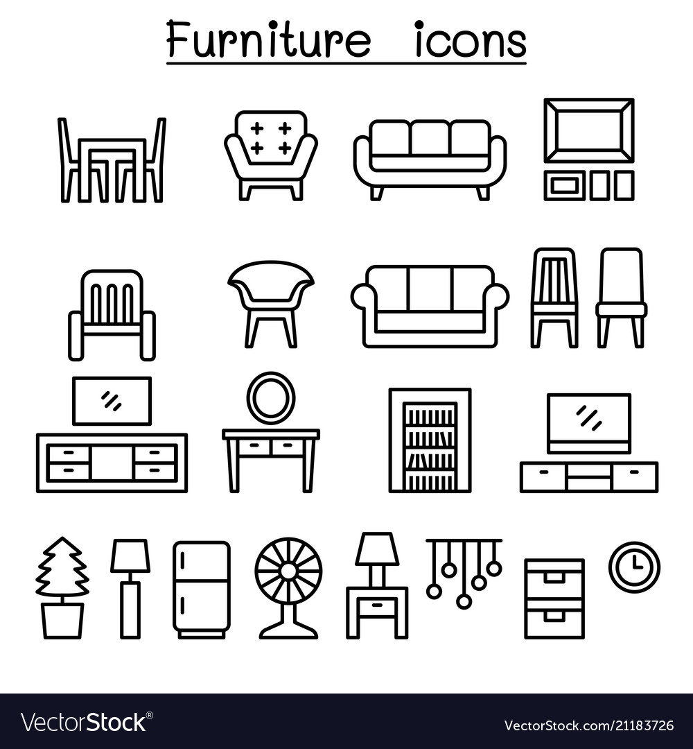 Furniture in front view icon set
