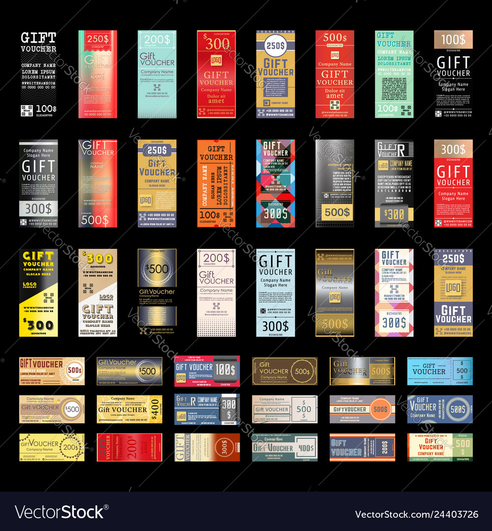 Gift voucher template with various design pattern