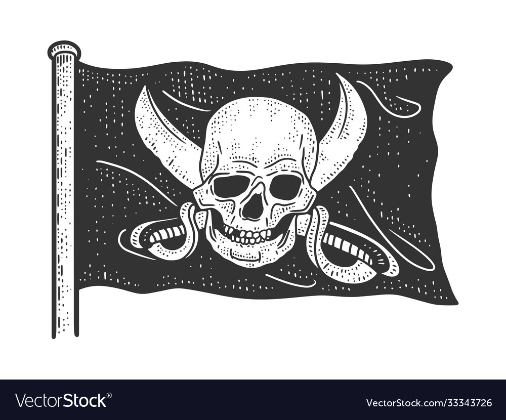 Jolly roger pirate flag sketch