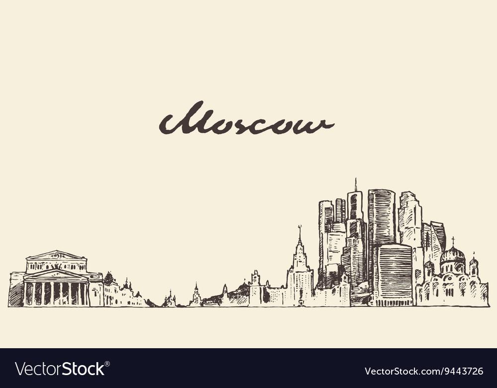 Moscow skyline Russia hand drawn sketch