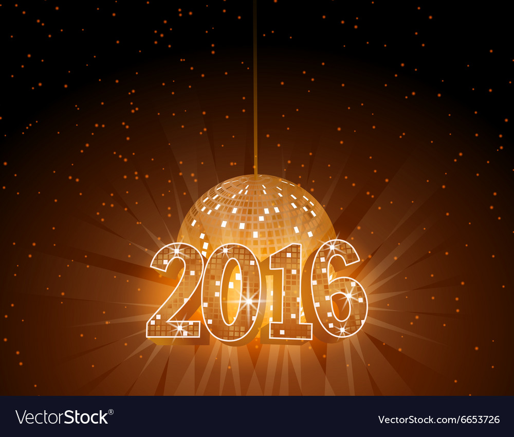 Number 2016 with disco ball